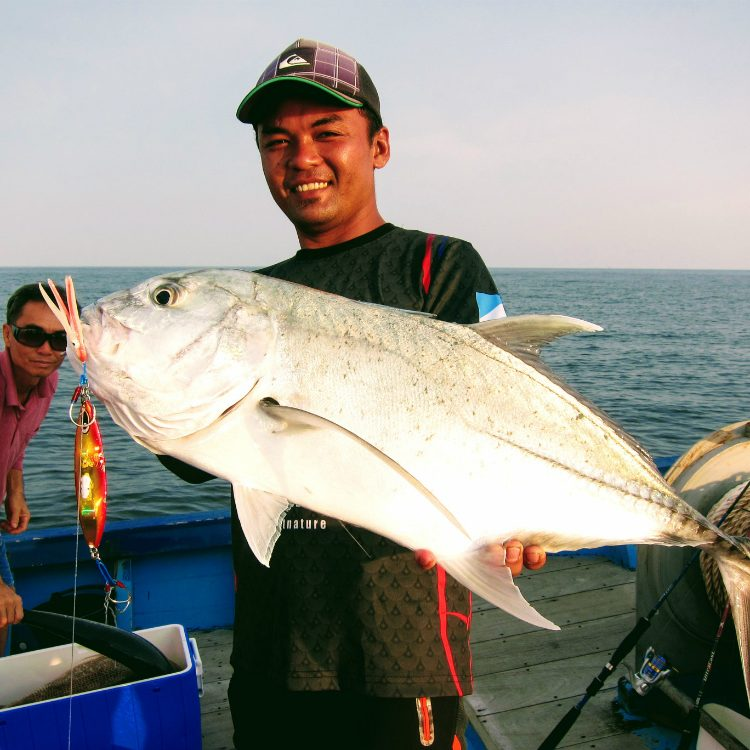 A trophy GT for Fitri. This is his first trip to Jarak waters and this is his first GT of his life! Perfect.